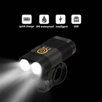 3000LM Double LED Rechargeable Bicycle Head Light Bike USB Lamp+Rotating mount