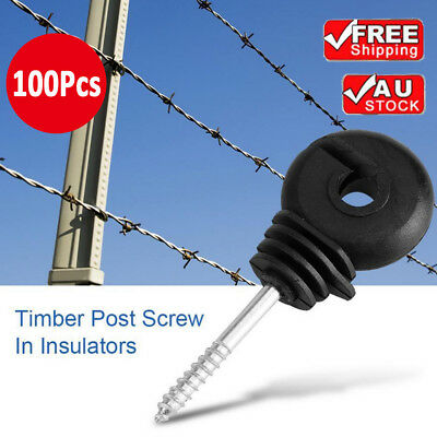 100Pcs Screw in Wood Post Ring Insulators for Electric Fencing Poly Wire Tape