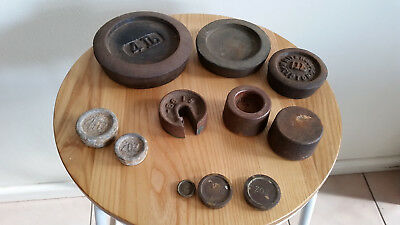 Lot of weights for antique postal or kitchen scales