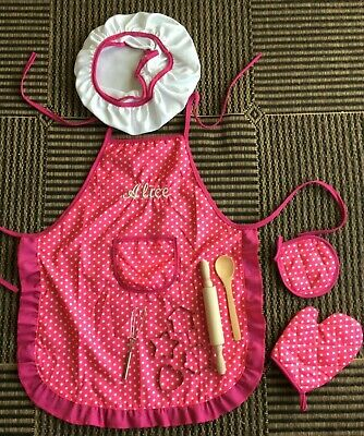 Personalised Embroidered Girls Pink & White Spots Apron 2-4yrs 5-8yrs - 9-11yrs