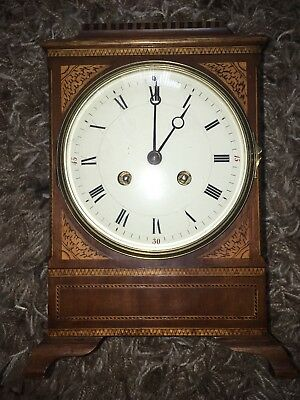 Rare Edwardian?Mantel Clock in Mahogany and Inlaid Case A Beautiful Clock