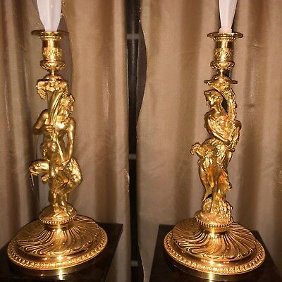 Antique French 19th Century Bronze Candlesticks w/ Bacchus & Bacchante carvings