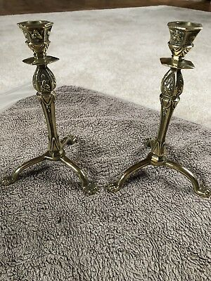 Pair of Antique Tripod Footed Solid Brass Candlesticks