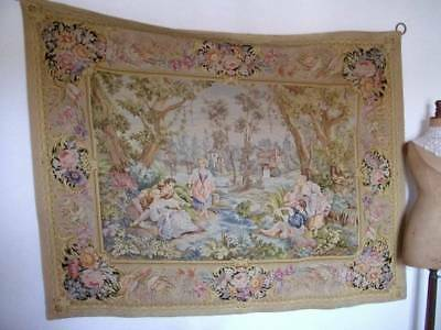 "French  Antique Magnificent Tapestry "" Regency Romantic Scene "" 6ft.7"" x 5ft.2"""
