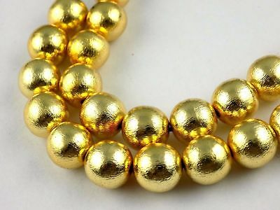 """2 Strand 24k Gold Plated Copper Rondelle Smooth Balls Shape Size 12mm 7"""" Long"""