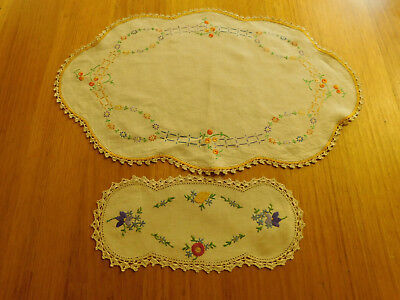 Vintage embroidered linen doyleys oval x 2 flowers crochet lace
