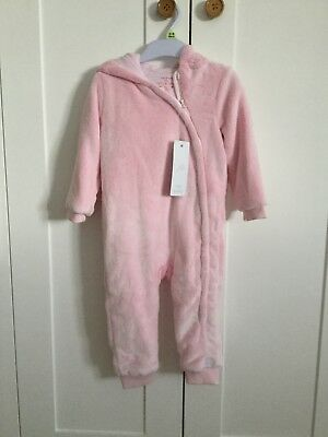 Baby Girls Fleeced Babygrow All In One By F&F Size 12-18 Months Pink h
