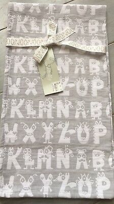 Peacock Alley Alphabet Baby Coverlet/blanket 100% Egyptian Cotton ~ Gray/white