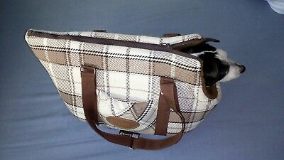Scruffs small Dog Carrier Travel Bag Washable beige and brown check