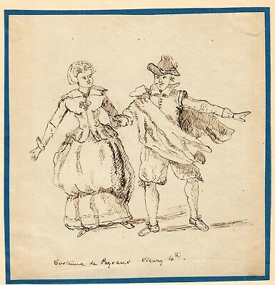 "Antique Pen & Ink Drawing ""Peasant Costumes"" Henry IV of France 19th Century"
