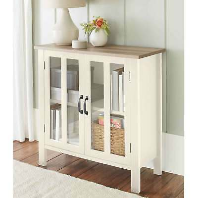 Gl Door Display Cabinet Rustic Off White Small Bookcases Console Table Buffet
