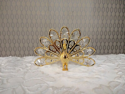 24k Gold Plated Peacock Figurine Ornament Decorated With Crystals
