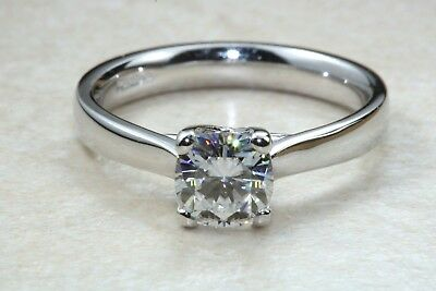 1.00ct Radiant cut Charles Colvard Moissanite Plat Ring, D,E,F and VVS clarity