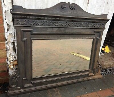 Large cast iron fireplace mantle mirror, original Victorian c1896