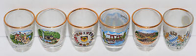 Vintage COLLECTION LOT of 6 DIFFERENT SHOT GLASSES from BAVARIA GERMANY GOLD RIM