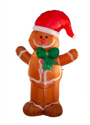 Glitzhome 7.87 ft. L Lighted Inflatable Gingerbread Man Decor