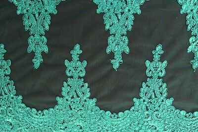 French Floral Swags Corded Embroidered Mesh Dress Fabric Material (Emerald 3)