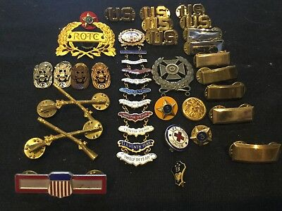 Lot Antique Vtg US Army Military Pin Badge BSA CHURCH SERVICE AWARDS