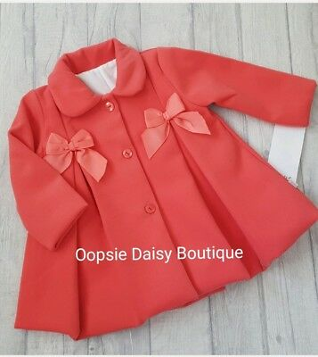Girls Beautiful Coral Spanish/Portuguese Double Ribbon Traditional Smocked Coat