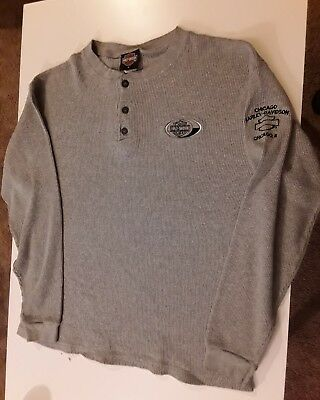 Harley Davidson Motorcycle Chicago Illinois Large Shirt Long Sleeve Henley