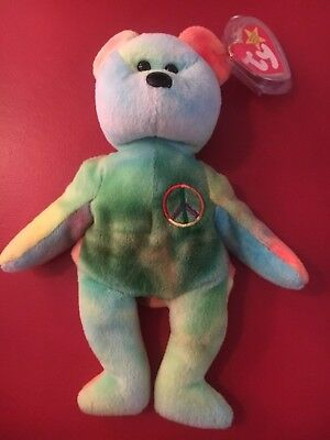"(1) Ty Beanie Babies Bean Bag Plush ""Peace The Bear"""