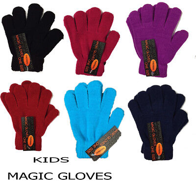Kids Girls Boys Handy Thermal Magic Gloves Pair Winter Warm  Stretch  Soft