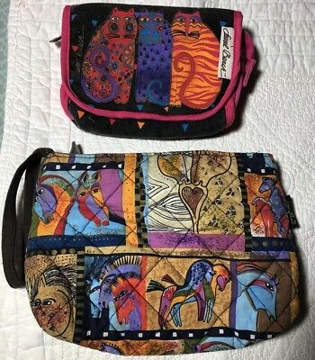 Lot of 2 Laurel Burch Mythical Horse Wristlet Fantastic Felines Cosmetic Cotton