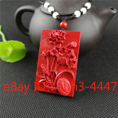 Lotus Pendant Chinese Natural Red Organic Cinnabar Necklace Lucky Amulet Hot