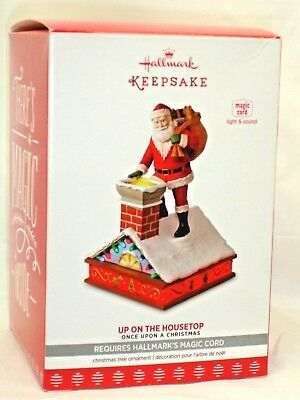 Hallmark 2017 UP ON THE HOUSETOP Magic Cord Christmas Santa Keepsake Ornament