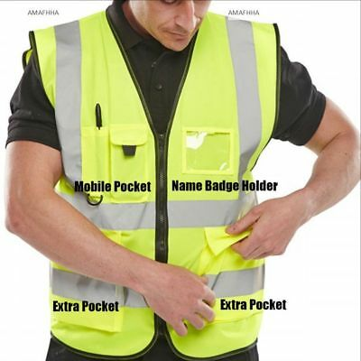 Hi Vis Executive Viz Vest High Visibility Waistcoat Phone & ID Pockets Yellow