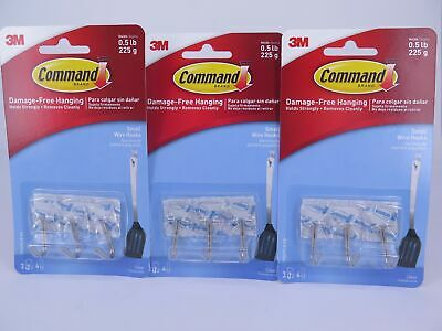 3 x Command Clear Wire Utensil Hooks 3 Pack 17067CLR Holds 225gm  XA006701560
