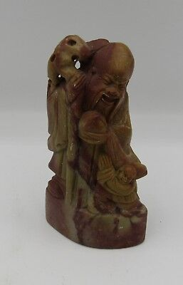 "Vintage carved Chinese chop seal hard stone figural scholar/child 4.25"" China"