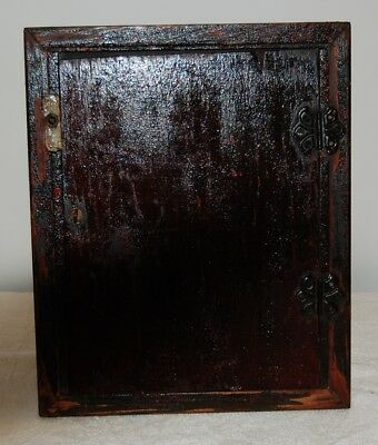 Medicine cabinet  With Old Red Paint Antique Pine