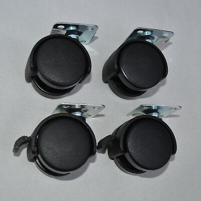 4 Furniture Castors Ø40mm Turnable 2 st with Brake Metal Plate Wheels Rollers