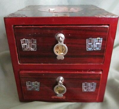 Wooden Oriental Inlaid Lacquered Jewelry Trinket Box