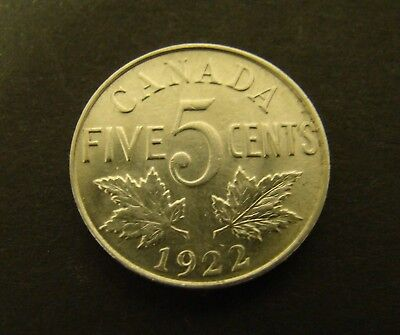 1922 CANADA 5 CENTS     Canadian     Foreign Coin    5c