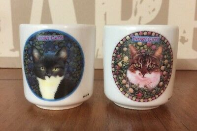 Pair Of Collectable 'Ivory Cats' Egg Cups