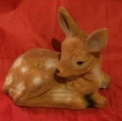 Vintage Flocked Fuzzy Fawn Deer Figurine Laying Down Hong Kong