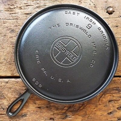 Vintage GRISWOLD Cast Iron GRIDDLE Pan RESTORED # 9 LARGE BLOCK LOGO - Ironspoon