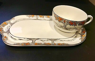 Crown Ducal Orange Tree Art Deco  Rare Picnic Plate with Round Low Cup