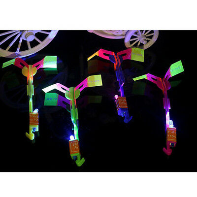 10X LED Light Arrow Rotating Flying Rocket Helicopter Children Outdoor Party Toy