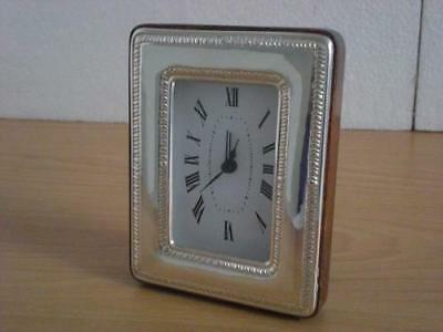SOLID STERLING SILVER TABLE ALARM CLOCK 1011/6×9 GB new