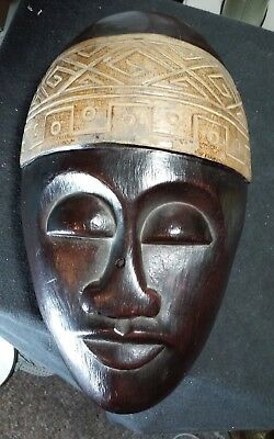 Outstanding vintage carved wooden African wall sculpture,mask bout 11.75 x 7.5