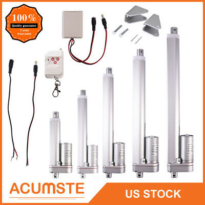 """2""""-12"""" Inch Linear Actuator 12V Volt Motor Stroke 900N 225 Pound Max Lift Silver"""