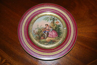Royal Vienna Beehive Burgundy And Gold Jeweled Romantic Cabinet Wall Plate # 4