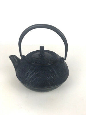 Oriental Cast Iron Vintage Teapot Japanese/Chinese blue cast with fish on it