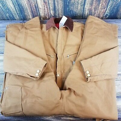 1bc61a3d944 Carhartt Mens X01 Brown Duck Quilt-Lined Insulated Coveralls Size 42 Short