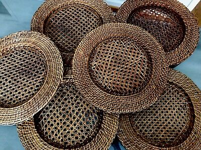 """Vintage Set Of 6 Rattan Wicker Woven Charger Plate Holders 14""""  Diameter 1970's"""
