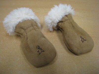 Baby GAP one size MITTENS faux sheepskin brown w/ teddy embroidery age newborn+