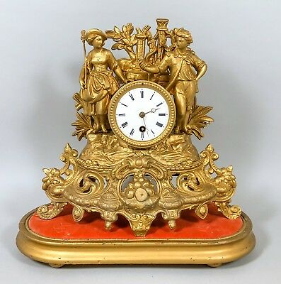 Antique French ormolu gilt mantle clock on stand figural girl boy Rococo style
